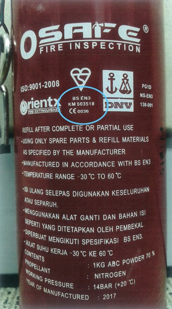 Red Fire Extinguisher Label