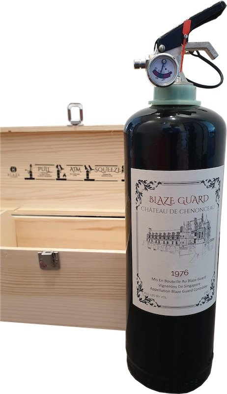 Red Wine Bottle Fire Extinguisher - Front
